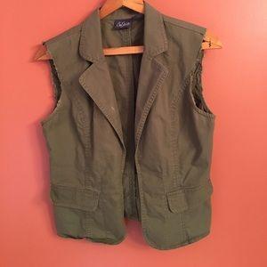 Olive Green Khaki Open Front Vest